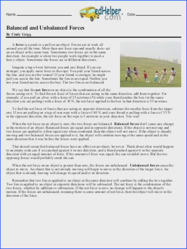 Balanced and Unbalanced Forces Reading Passage