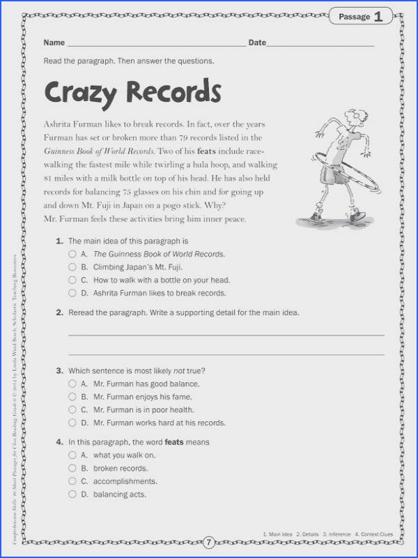 Balancing Act Worksheet Answers Inspirational Prehension Skills Gr 6 40 Short Passages for Close Reading Stock