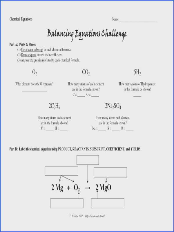Balancing Equations Challenge Worksheet For 9th 12th Grade