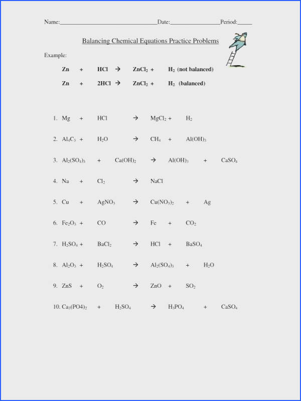 pin balancing chemical equations practice problems worksheet with answers 5