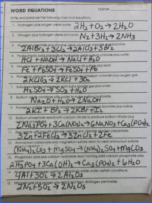 Balancing Chemical Equations Practice Worksheet Best Classifying Chemical Reactions Worksheet Answers Google Search s