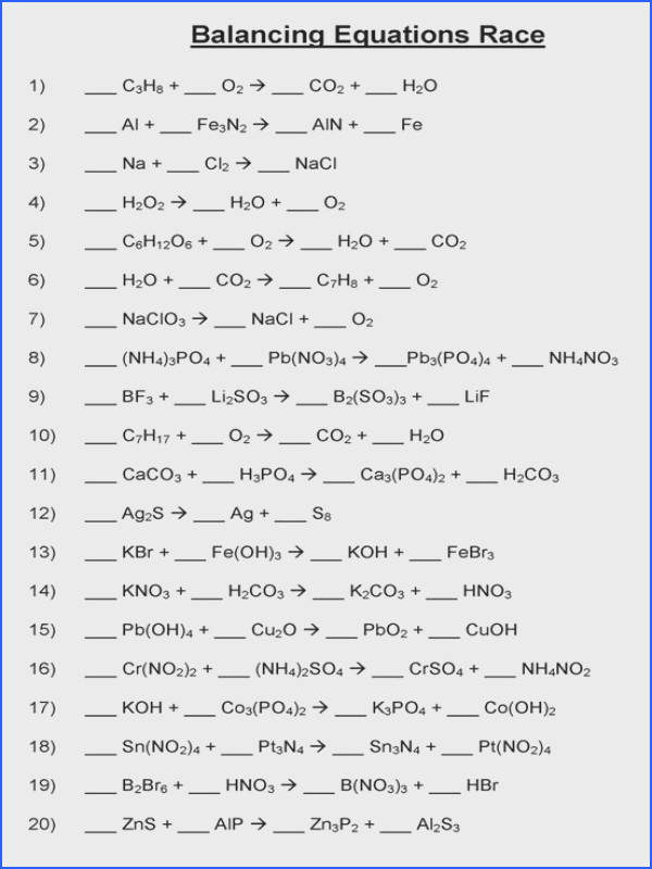 Balancing Chemical Equations Practice Worksheet With Answers Worksheets for all Download and Worksheets