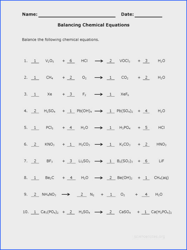 pin balancing chemical equations practice problems worksheet with answers 1