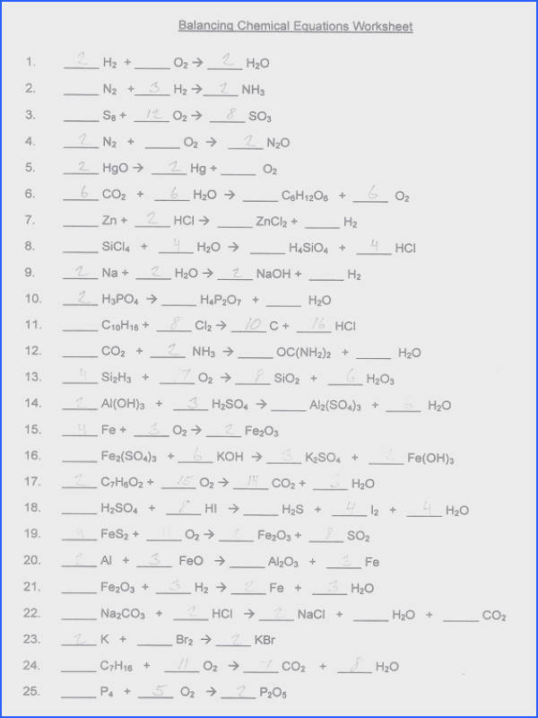 Balancing Chemical Equations Worksheet With Answer Key Worksheets for all Download and Worksheets