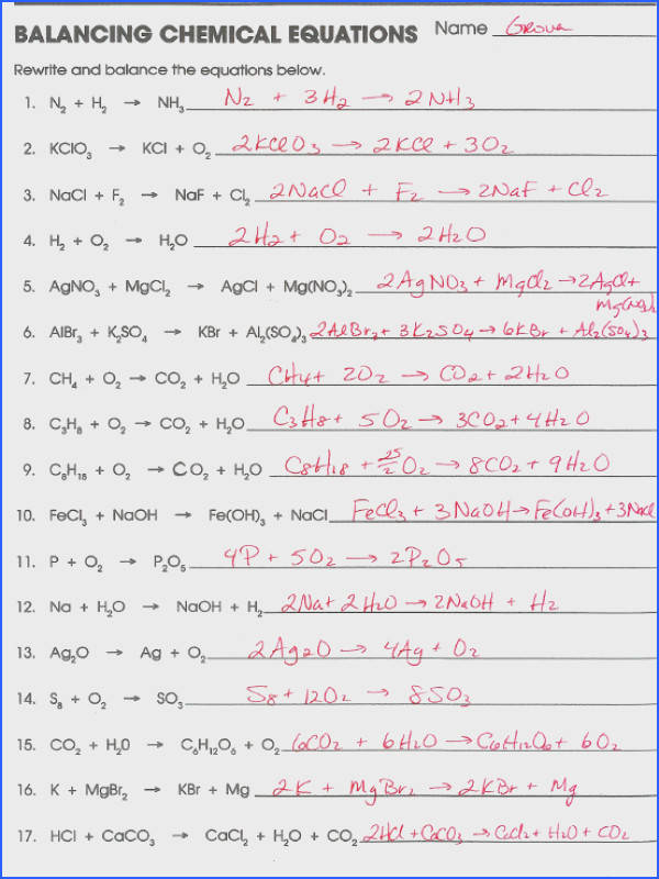 Balancing Chemical Reactions Worksheet With Answers
