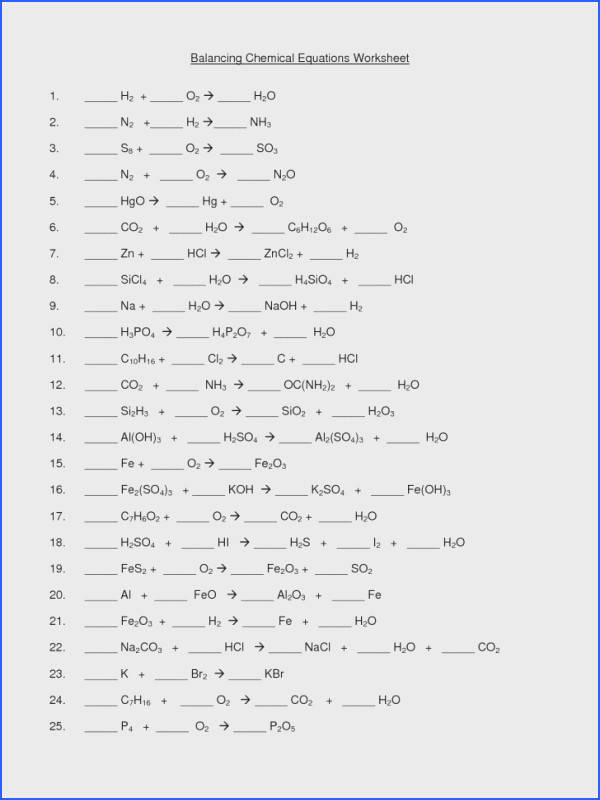 Balancing Equations Chemistry Worksheet Answers