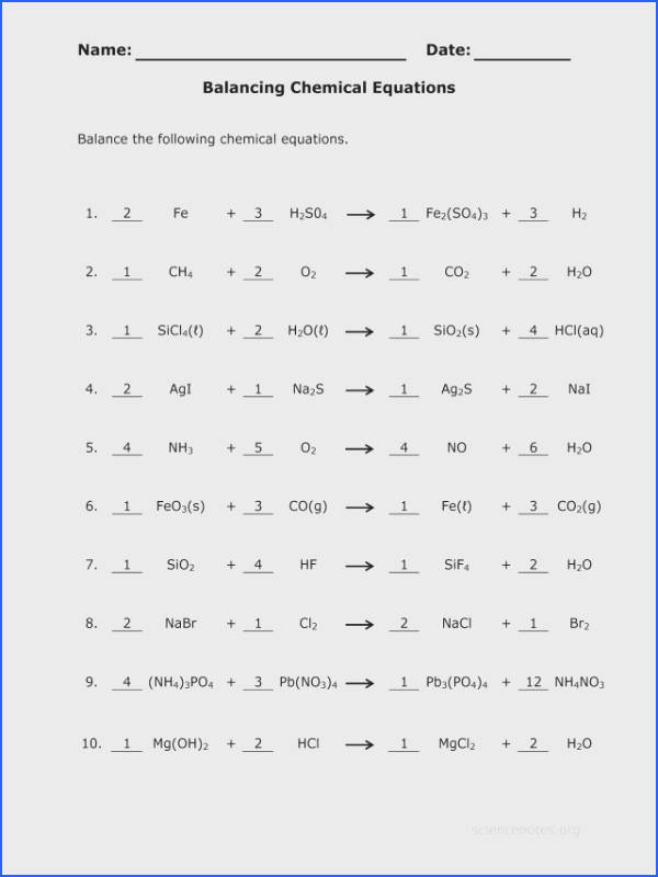 Balance chemical equations worksheet answer key for the awesome collection of balancing chemistry a study matter