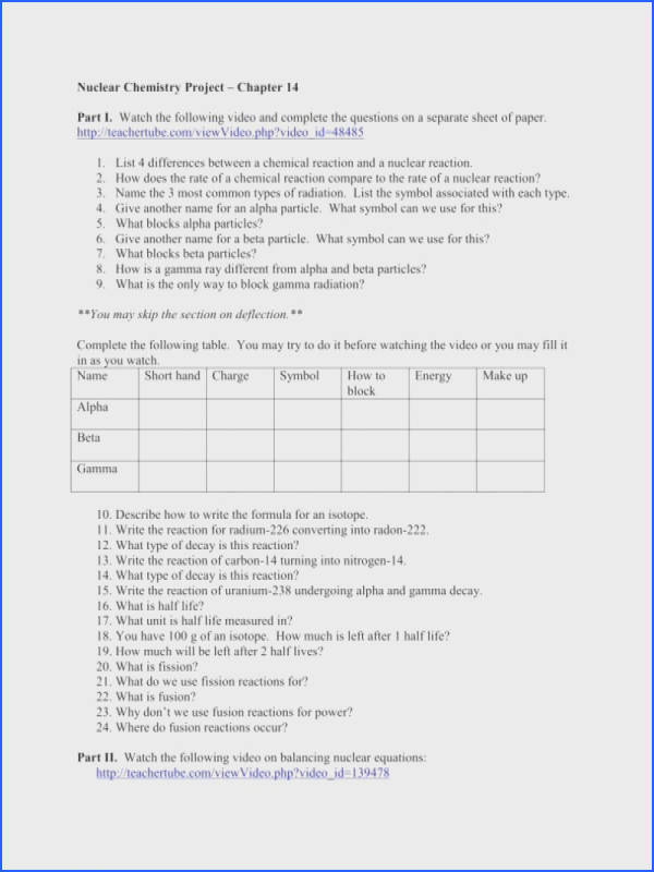 balancing nuclear reactions worksheet nuclear chemistry worksheet
