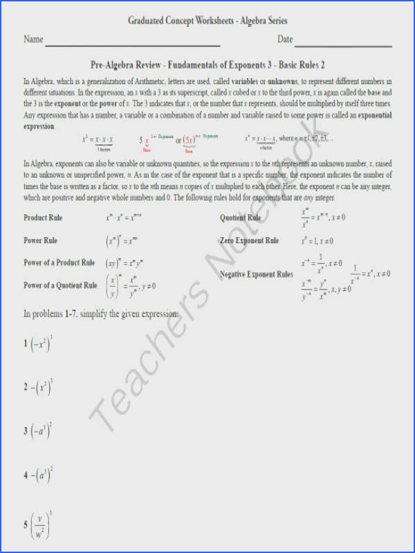 Basic Algebra Worksheet 8 Pre Alg Rev Funds of Exponents 3 Basic Rules 2 from MathDBase on TeachersNotebook 4 pages This is the eighth