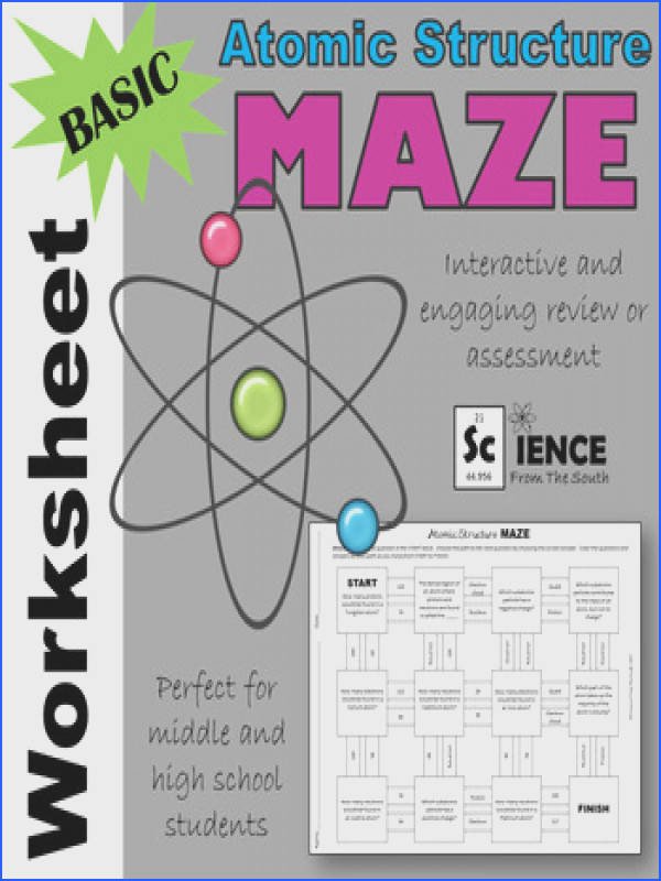 Basic Atomic Structure Maze Worksheet for Review or Assessment