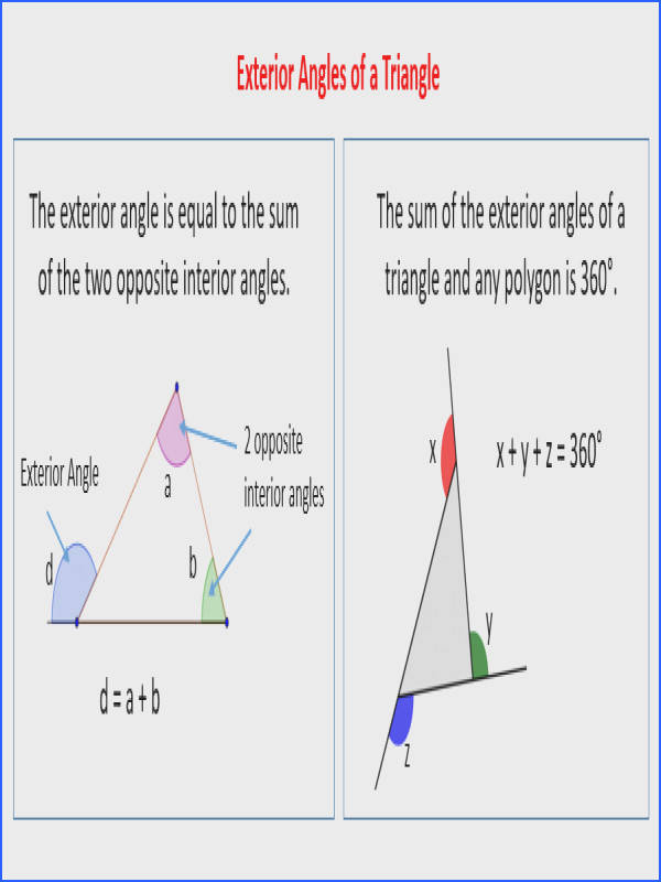 Beautiful Art Worksheet Triangle Sum And Exterior Angle Theorem Answers Exterior Angles A Triangle Solutions Examples Videos
