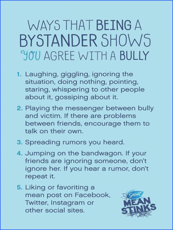 Being a bystander is as bad as being a bully perhaps even worse