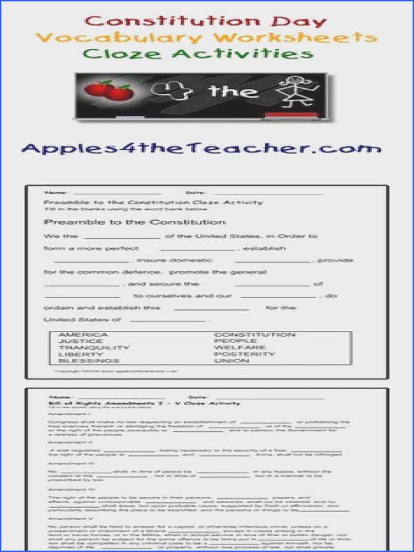 Cloze activity worksheets Bill of Rights interactive cloze worksheets