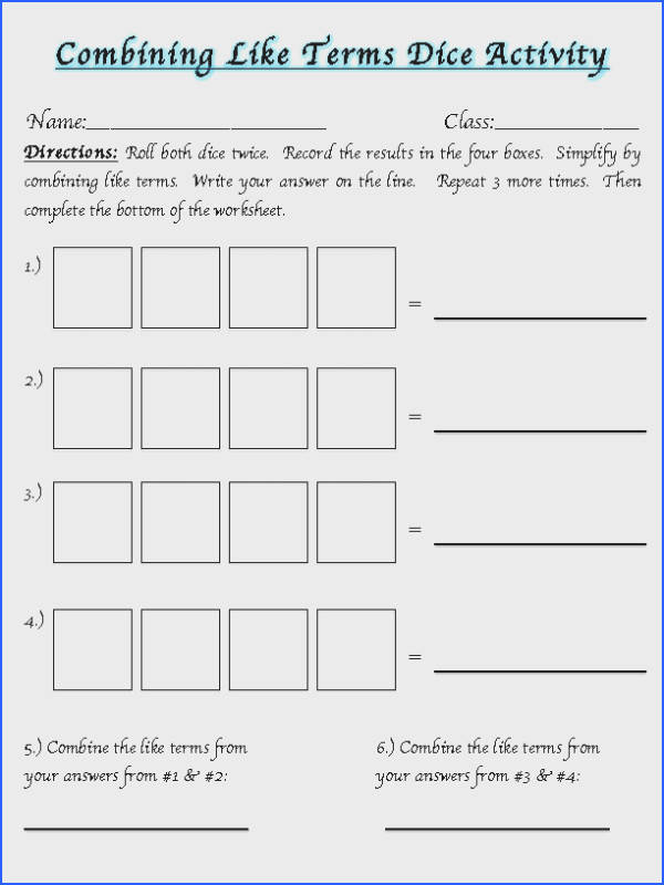 Bining Like Terms A Dice Activity Algebra Image Below Combining Like Terms Worksheet