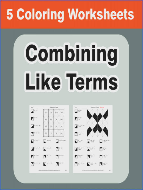 bining Like Terms Coloring Worksheets by bios444 Teaching Resources Tes