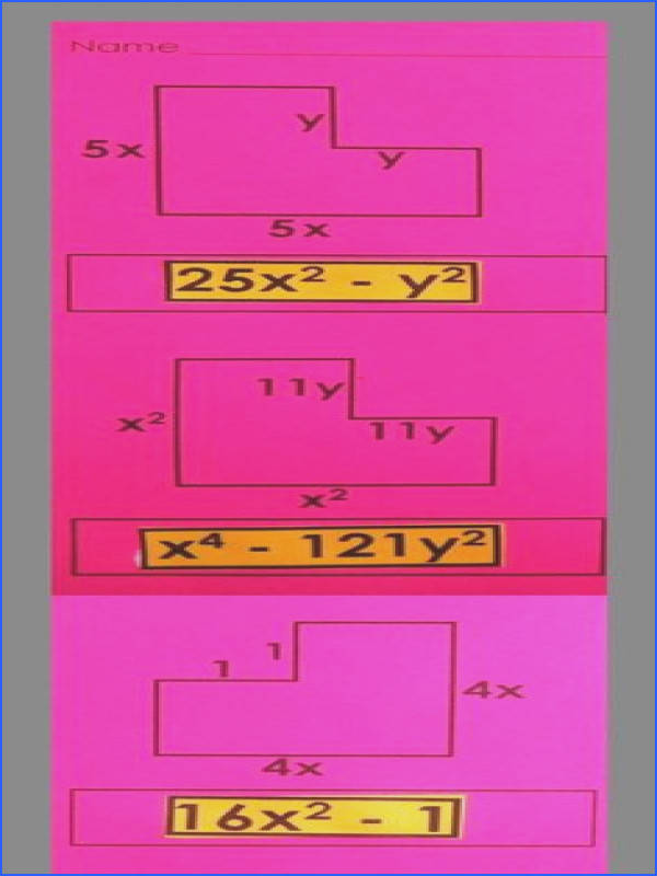 Use this idea to have kids find the perimeter of irregular figures and practice bining like terms difference two squares