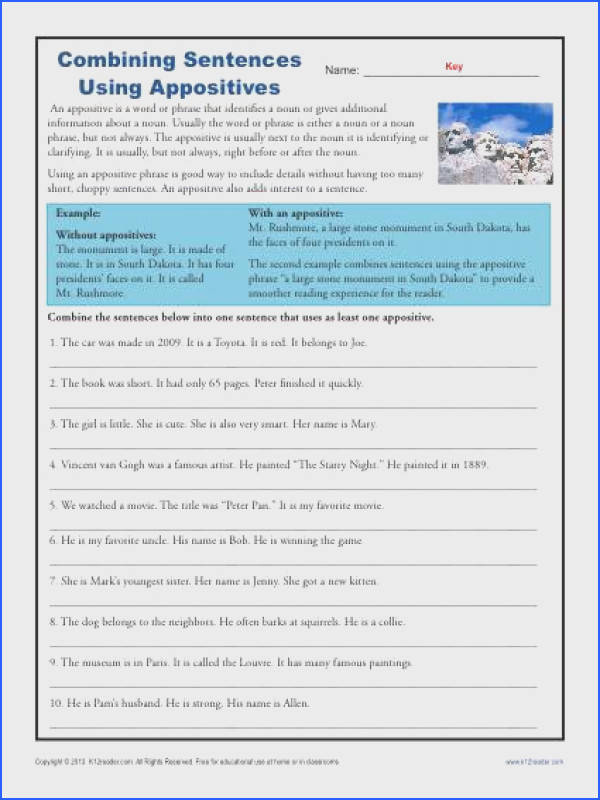 bining Sentences with Appositives Free Printable Practice Activity