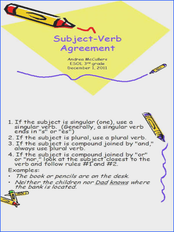 Which Sentence Uses Correct Subject verb Agreement Worksheet