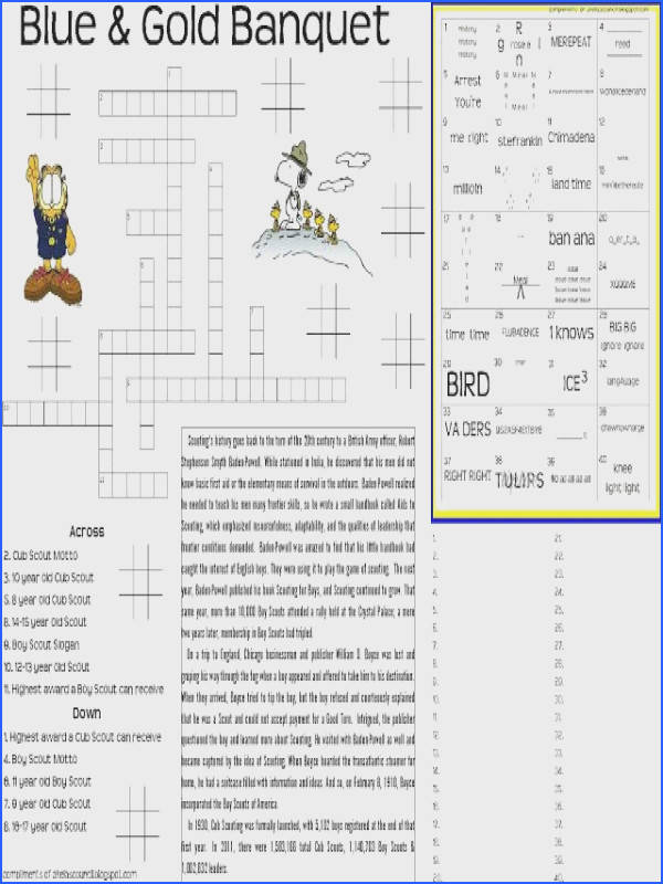 Blue and Gold Banquet Dinner Placemat Preopener Printable Worksheet for the Blue & Gold Cub · Rebus PuzzlesCrossword