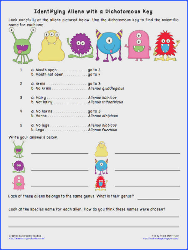 Bookish Ways in Math and Science Monday Science Freebie Dichotomous Keys