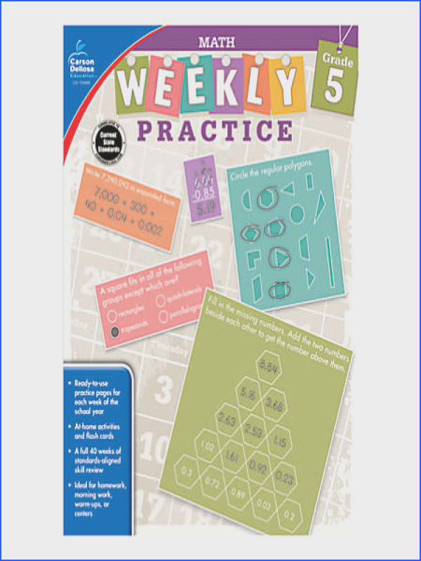 Carson Dellosa Math Weekly Practice Workbook Grade 5 by Fice Image Below Carson Dellosa Worksheet Answers