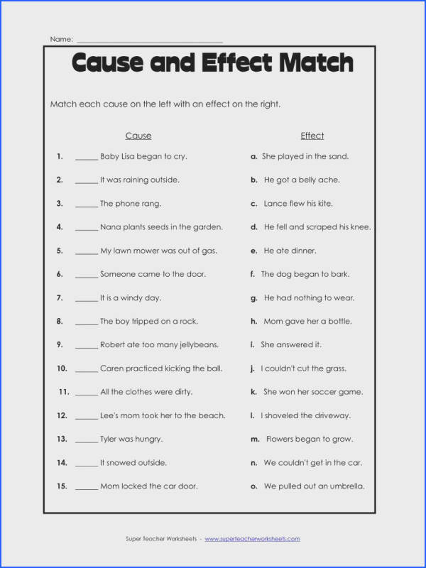 Cause and Effect worksheet freebie