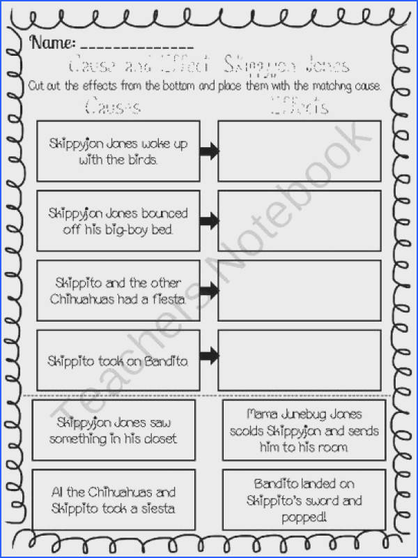 Cause and Effect Worksheets Skippyjon Jones Collection
