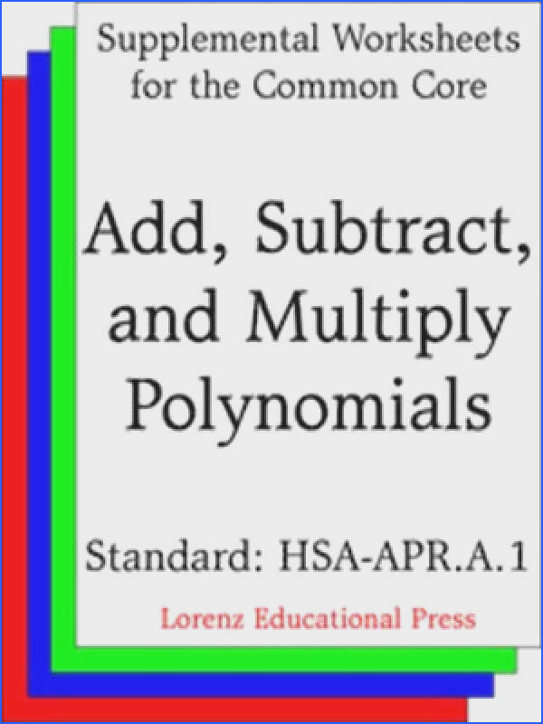 A 1 Add Subtract and Multiply Polynomials