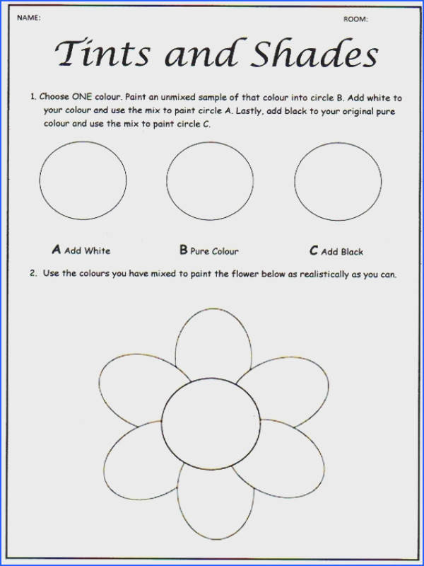 Worksheets · ce upon an Art Room Tinting and Shading Colour Theory
