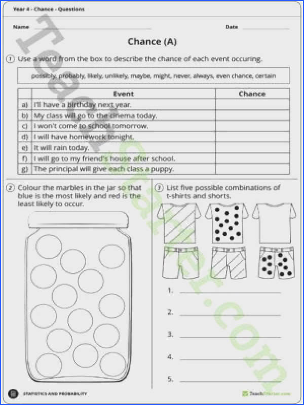 Chance Worksheets – Year 4