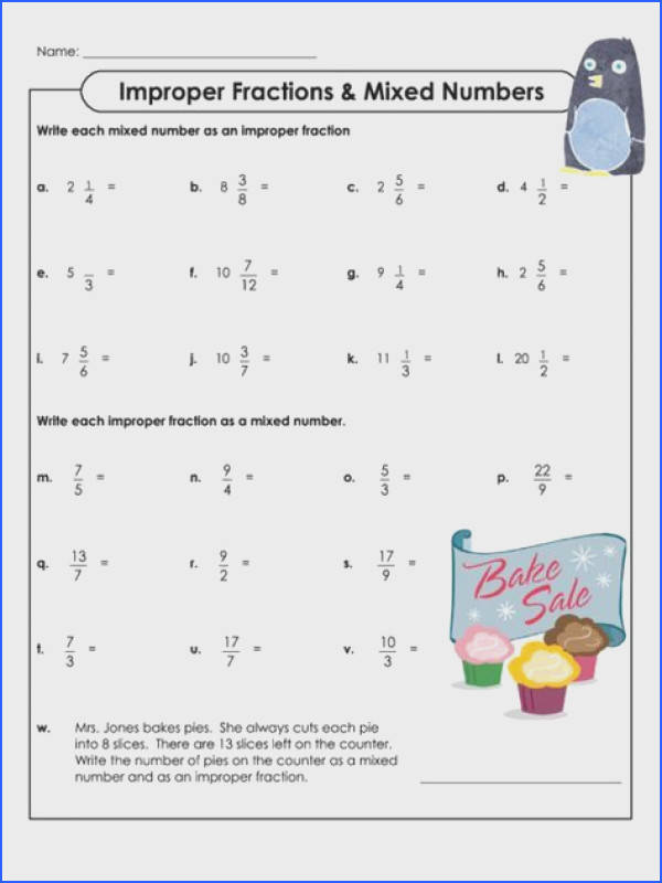 Changing Improper Fractions to Mixed Numbers