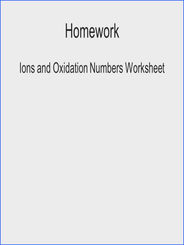 Ions and Oxidation Numbers Worksheet