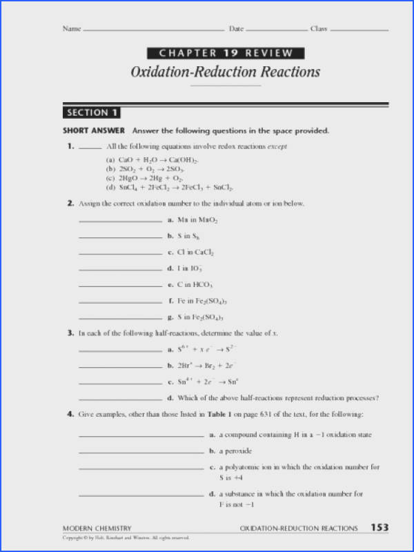 Chapter 19 Review Section 1 Oxidation Reduction Reactions Worksheet for 9th 12th Grade