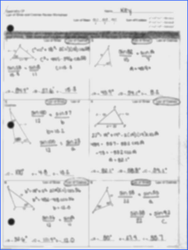 4 pages Law of Sines and Cosines Review Answer Key