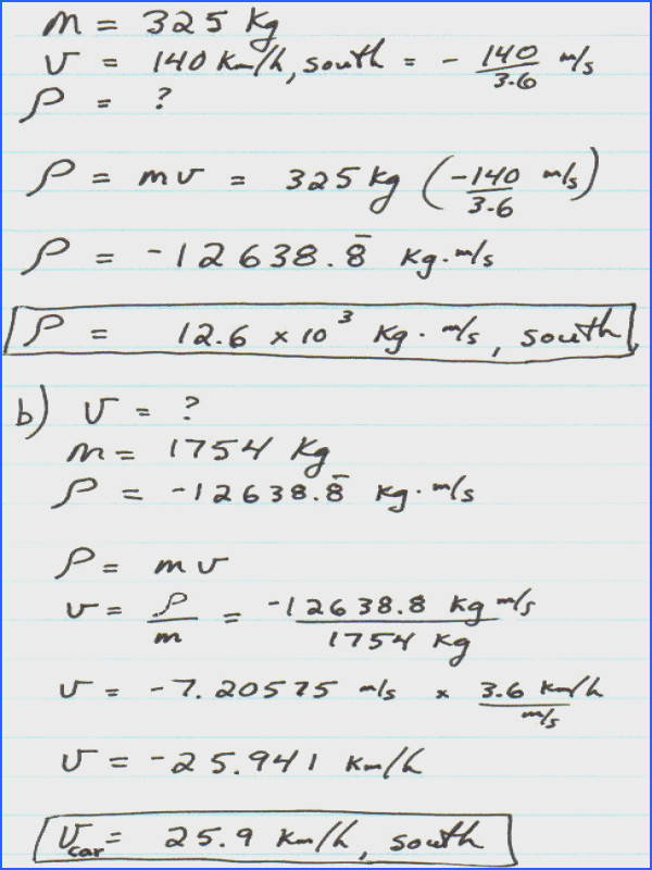 b At what velocity is the momentum of a 1754 kg car equal to that of the motorcycle