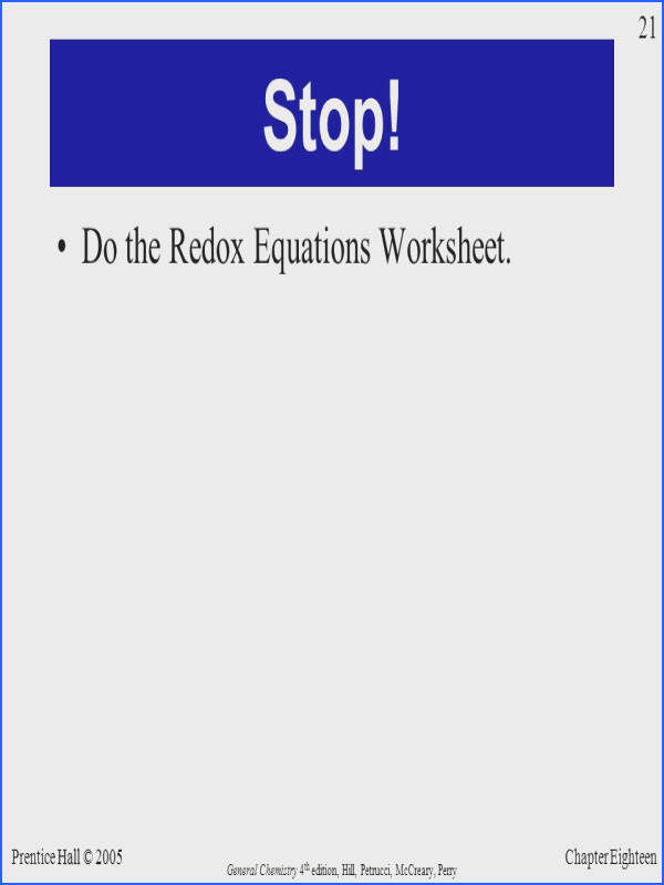 Do the Redox Equations Worksheet