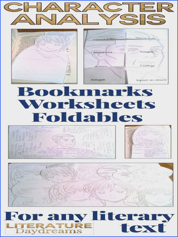Character worksheets bookmarks and foldables perfect for any novel or text study A