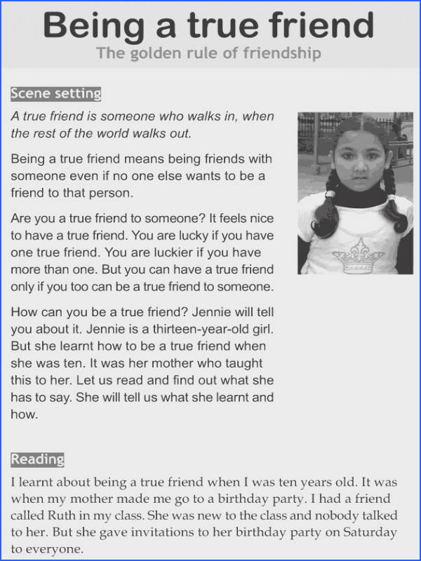 Character education and life skills grade 6 lesson 10 Being a true friend 1
