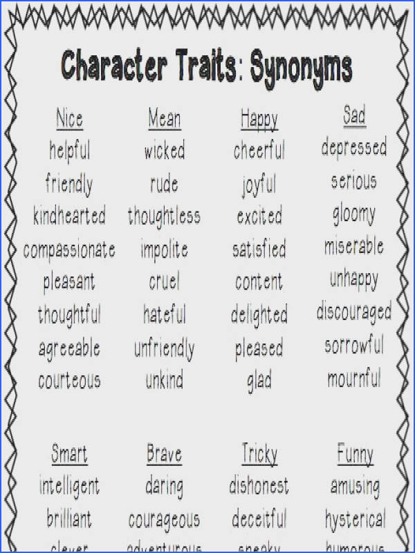 Character Traits List freebie This blog also has a list for positive and negative