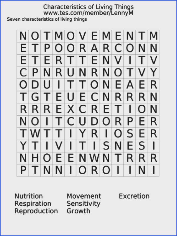 Characteristics of a Living thing Word search Starter by LennyM Teaching Resources Tes