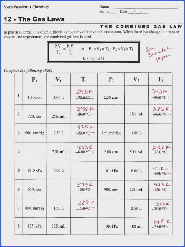 Gas Law Worksheets With Answers Worksheets for all Download and Worksheets