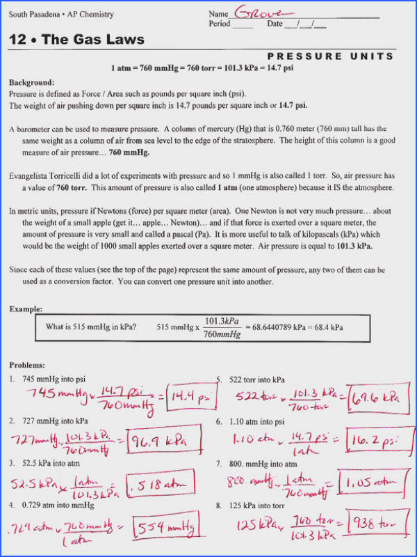 Charles law worksheet answers & bined Gas Law Worksheet Experimental Variables Worksheet Answers Chemistry Charles Law Worksheet