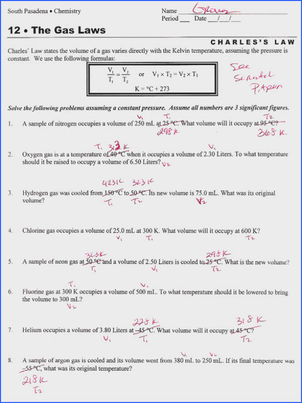 Boyles And Charles Law Worksheet Worksheets for all Download and Worksheets