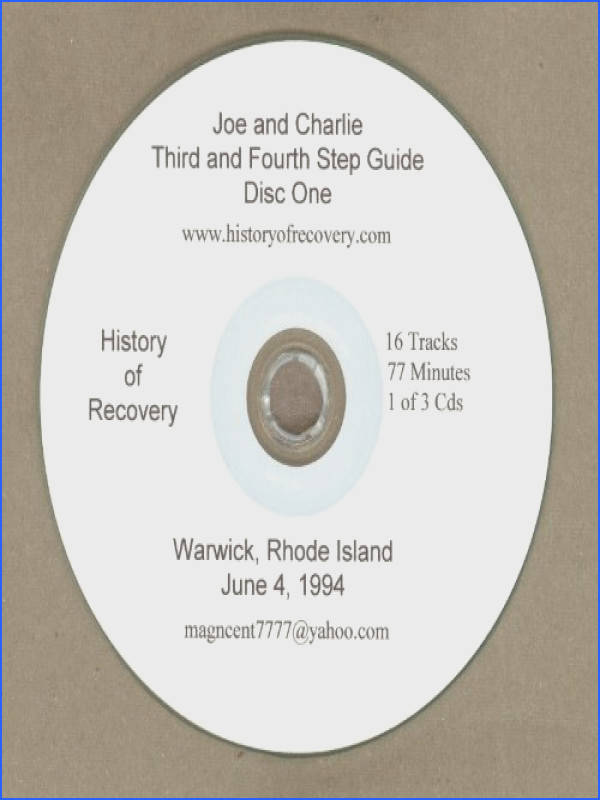 Get Quotations · Joe and Charlie Alcoholics Anonymous Third and Fourth Step Guide 1994 RI Three Discs in Set