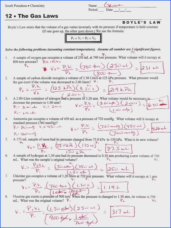 Ideal Gas Law Worksheet With Answers Worksheets for all Download and Worksheets
