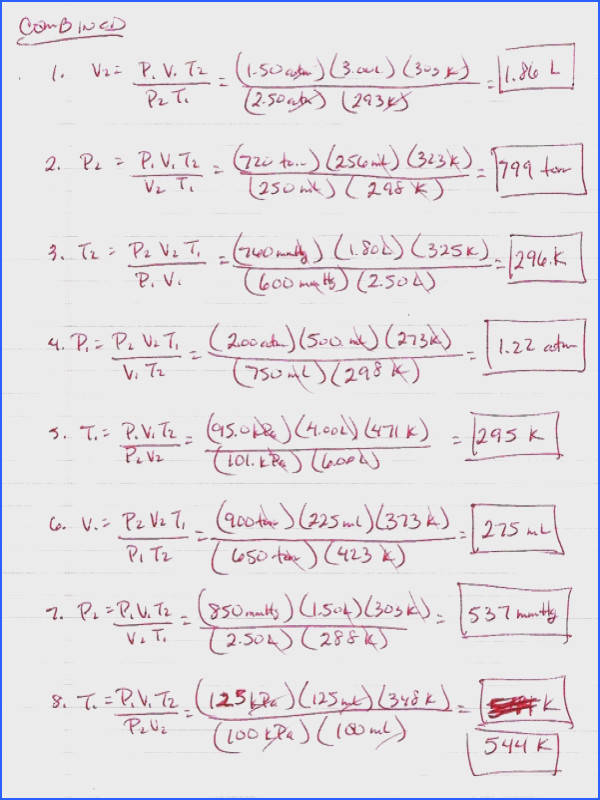 Ideal Gas Law Worksheet Answers