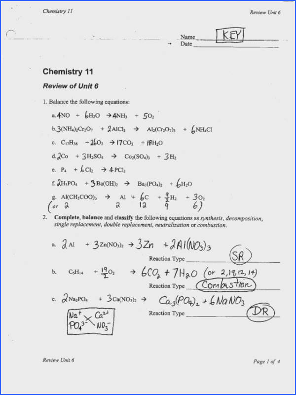 Chemical Reactions And Equations Worksheet Worksheets for all Download and Worksheets