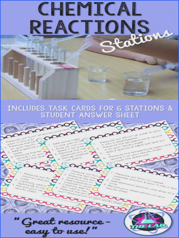 Easy to set up stations lab and activities as an introduction to Chemical Reactions