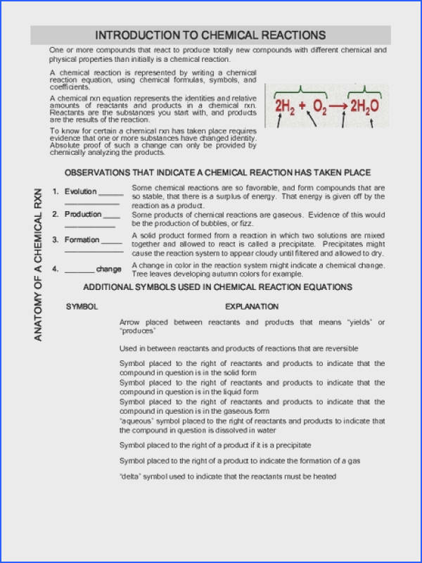 Introduction to Chemical Reactions Worksheet for 9th Higher Ed