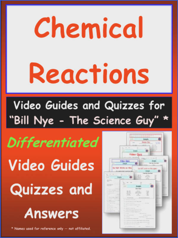"""Chemical Reactions Worksheet Video Guide for the video by """"Bill Nye The"""